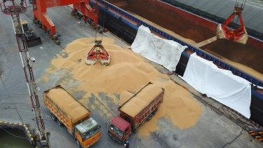 Workers load soybeans imported from Brazil at a port in Nantong in east China's Jiangsu province last month.