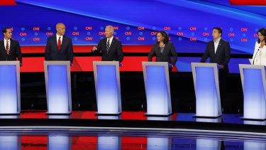 Democratic candidates assembled for debate.