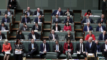 Scott Morrison and his backbench during question time on Monday.