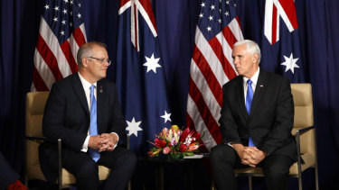 US Vice-President Mike Pence (right) speaks as Prime Minister Scott Morrison listens during a bilateral meeting on the sidelines of the APEC Summit in Port Moresby.
