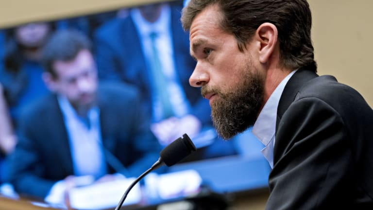 Jack Dorsey, co-founder and chief executive officer of Twitter Inc., makes an opening statement during a House Energy and Commerce Committee hearing in Washington, DC.