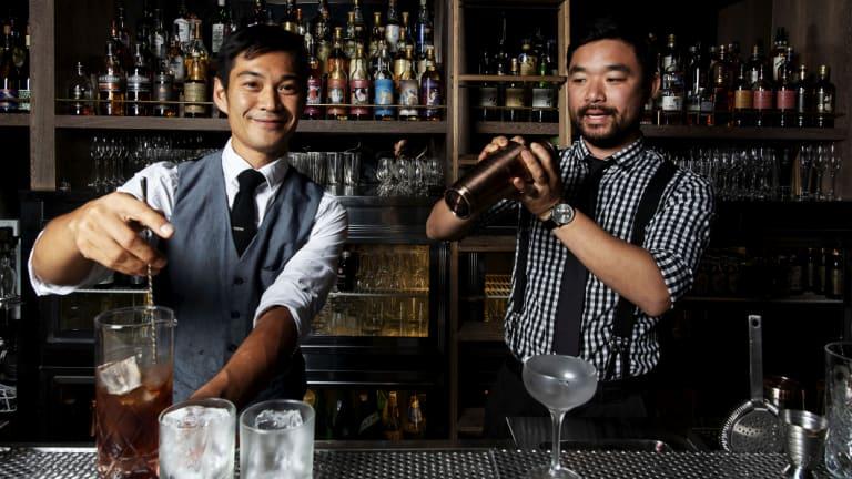 Jason Ang and group beverage owner Yoshi Onishi behind the bar at Bancho.