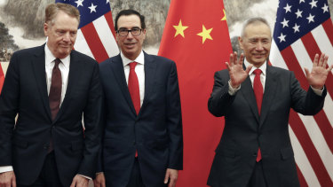 Chinese vice premier Liu He (right) hosted Treasury secretary Steven Mnuchin (centre) and Robert Lighthizer, in Beijing for trade talks this month.