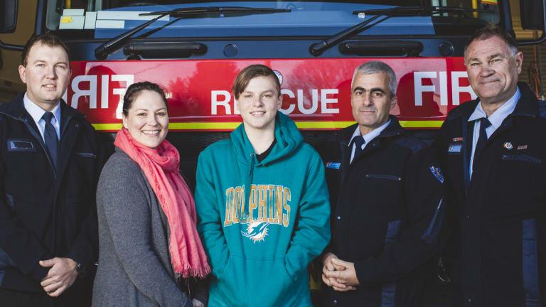Firefighter Hayden Orford, Alanna Davis, TJ Campagna, firefighter Tim Wimborne, and deputy captain Steven Hockey.