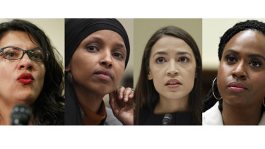 Donald Trump dug in with criticism against (L-R) congresswomen Rashida Tlaib, Ilhan Omar, Alexandria Ocasio-Cortez and Ayanna Pressley.