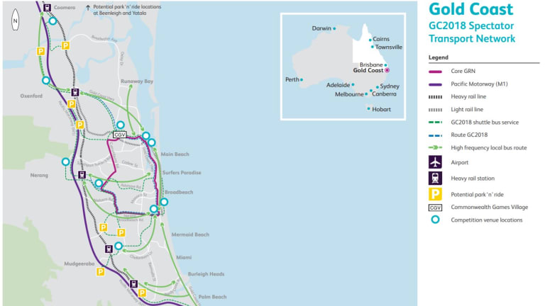 Rail and bus links at the 2018 Commonwealth Games.