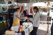 Local authors Heather Waugh, Norman Jorgensen and Fiona Burrows man the barbecue.