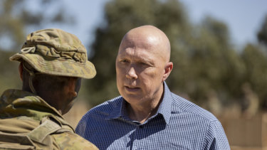 Defence minister Peter Dutton at thje Townsville Field Training Area in Queensland this week.