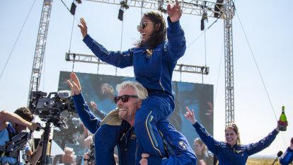 Richard Branson soars into space aboard rocket plane