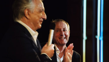 Alan Rickman with Garry Maddox during an In Conversation session in 2015.