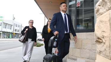 Jarryd Hayne arrives at court on Monday.