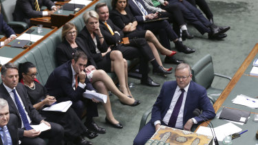 Opposition Leader Anthony Albanese and his front bench during question time at Parliament House.