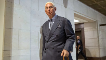 Roger Stone arrives to testify before the House Intelligence Committee, on Capitol Hill in September 2017.