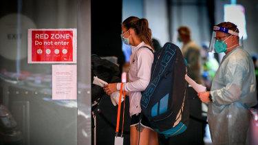 Tennis players leave the Grand Hyatt for training on Wednesday.