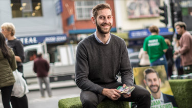 Adam Pulford, Greens candidate for Wills, at Victoria Street mall in Coburg.