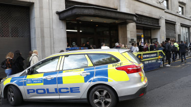 British police say two people have been stabbed and a man has been arrested at Sony Music building in London.