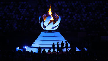 The Olympic cauldron before it went out.