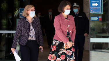 Dr Kerry Chant and Premier Gladys Berejiklian arriving at a press conference in June.