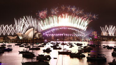 Sydney's New Year's Eve fireworks as seen from Mrs Macquarie's Point in Sydney on January 1, 2021.