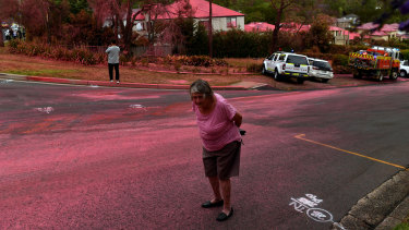 A resident walks in front of South Turramurra homes which were bombed by fire retardant in November.