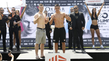 Jeff Horn and Tim Tszyu at Tuesday's weigh-in.