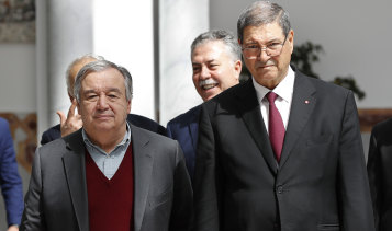 "UN Secretary-General Antonio Guterres pictured with Tunisian presidential adviser for political affairs Habib Essid. Mr Guterres told the meeting of the Arab League that the Golan Height remained ""occupied territory""."