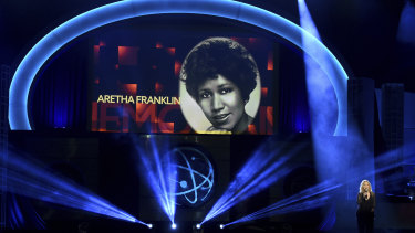 Aretha Franklin is honoured as Roslyn Kind performs at the Daytime Emmy Awards earlier this month.