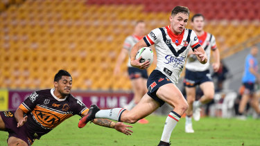 Kyle Flanagan races away for the Roosters.