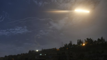 Osraeli missiles flying into the sky near international airport in Damascus in Syria in January.