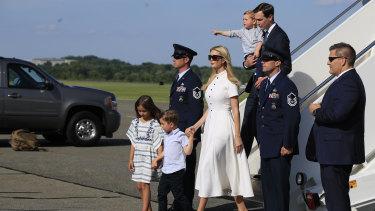 Ivanka Trump and White House Senior Adviser Jared Kushner and their children Arabella, Joseph and Theodore Kushner, disembark Air Force One.