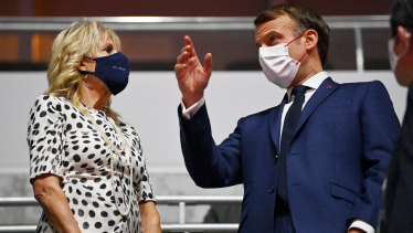 US First Lady Jill Biden and French President Emmanuel Macron at the Olympics Opening Ceremony in Tokyo