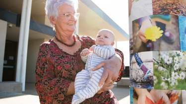 Retiring maternal health nurse Margaret Hazelton with two-month-old Darcy Boyd.
