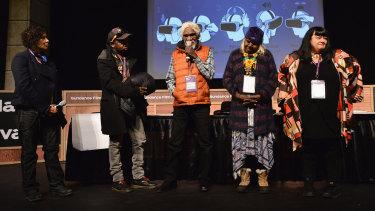 Lynette Wallworth, far right, at the  Collisions' premiere, Eqyptian Theatre, Sundance Film Festival.