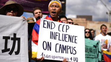 Hundreds of students protested against funding agreements between Australian universities and the Confucius Institute.