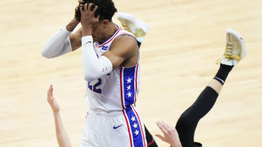 Ben Simmons' Philadelphia 76ers and Boomers teammate Matisse Thybulle reacts after fouling the Hawks' Kevin Huerter during game seven.