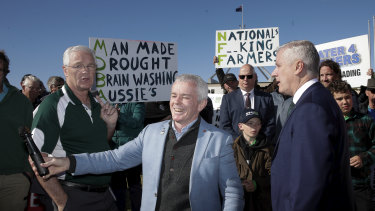 Nationals MP Damian Drum, One Nation Senator Malcolm Roberts and Deputy Prime Minister Michael McCormack.