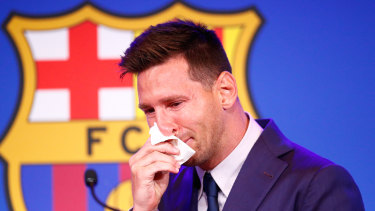 Lionel Messi, who had wanted to stay at Barcelona, broke down at his farewell news conference.