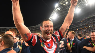 Boyd Cordner celebrates last year's grand final win over the Storm.