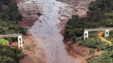 An aerial view shows a destroyed bridge after a dam collapsed in Brumadinho, Brazil.