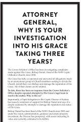 The advertisement proclaiming Bishop Daniel's innocence in Saturday's Herald.