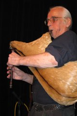Musical visionary: The late Kim Sanders playing the gaida.