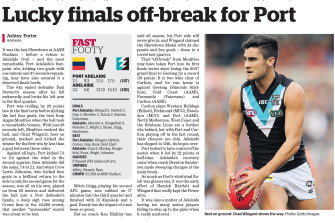 The Age's match report from the Crows Port match.