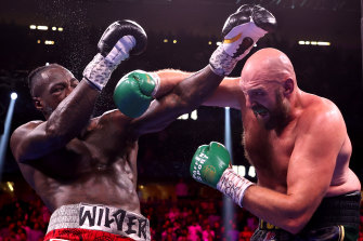 Fury lands a brutal right hook at the T-Mobile Arena in Las Vegas.