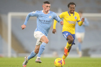Goalscorer Phil Foden makes a break during Manchester City's Premier League win over Brighton.