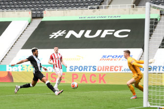 Joelinton scores for Newcastle United against Sheffield United at St James' Park on Sunday.