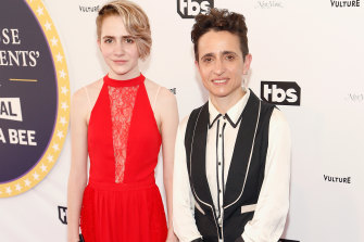 New Yorker reporter Masha Gessen with her daughter at the Not the White House Correspondents Dinner with Samantha Bee in 2017.