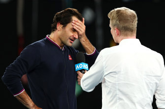 """John deserves more than half of this one"", Federer said in his post-match, on-court interview."