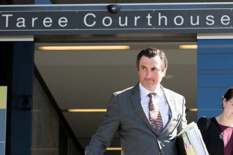 Bill Spedding's lawyer Peter O'Brien outside Taree Court House.