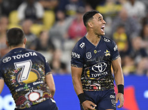 Valentine Holmes celebrates his match-winning play for the Cowboys.