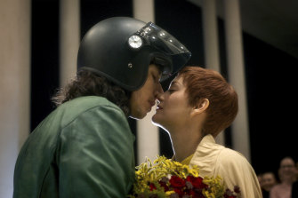 """Adam Driver and Marion Cotillard in the """"daring, original and heroically odd"""" Annette."""